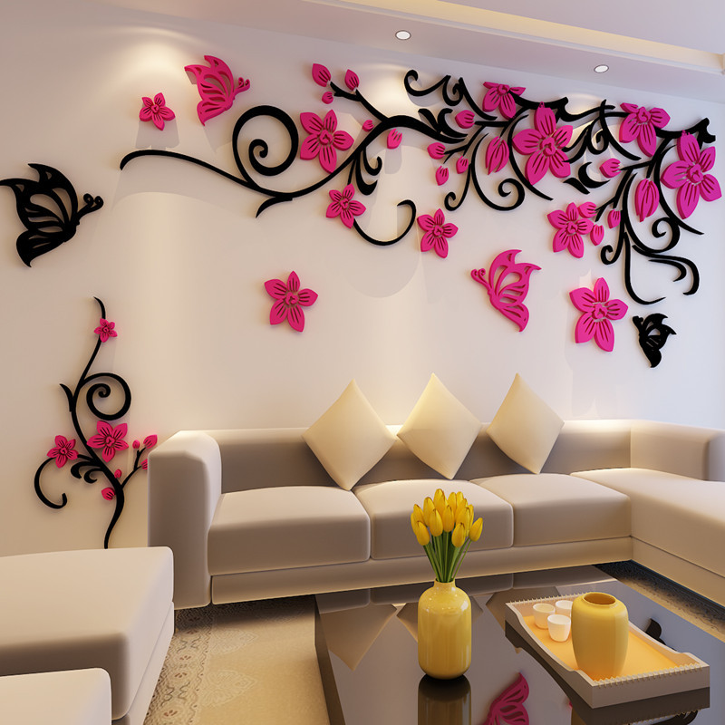 Buy Flower Crystal Three Dimensional Tree Wall Stickers Acrylic Sofa Wall