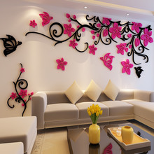 Flower crystal three-dimensional Tree wall stickers acrylic sofa wall stickers Decor for Home DIY Self-adhesive Removable removable diy home decor christmas tree wall stickers