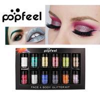 POPFEEL Glitter Eyeshadow Powder Waterproof Loose Shimmer Eyeshadow Pigment 3D Nude Metallic Eye Shadow Makeup Cosmetics