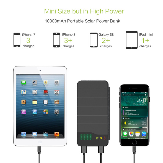 ALLPOWERS 10000mAh Solar Power Bank Waterproof Solar Charger External Battery Backup Pack for Cell Phone Tablets iphone Samsung 6