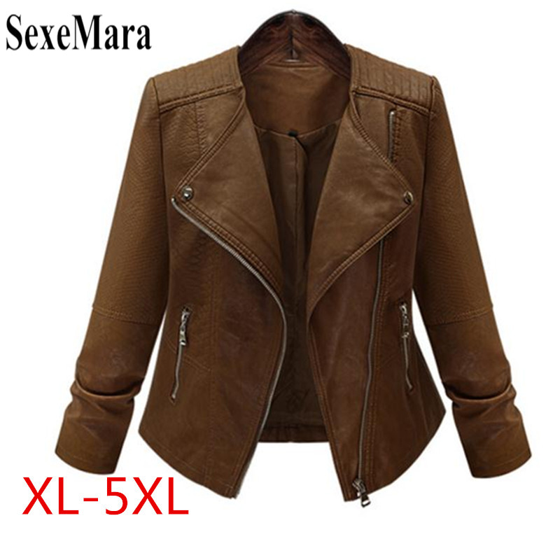 SexeMara Plus Size 5XL Winter Women Pu Leather   Jacket   Long Sleeve Slim Brown Restoring Motorcycle Women   Basic     Jacket   Coat