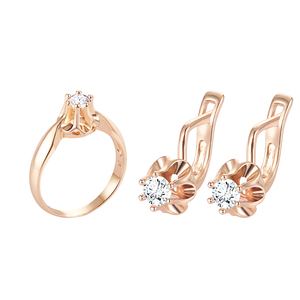 FJ Big Sales 3 Style Women Blue/White Stone Jewelry Sets 585 Gold Color Cubic Zircon Flowers Earrings+Rings Jewelry(China)