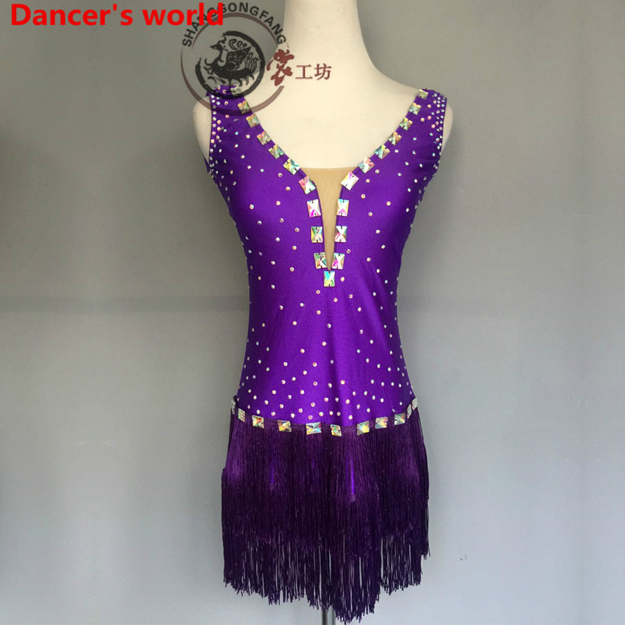Sleeveless Fringes Skirt Women V-Collar Back Opening Latin Tango Ballroom Salsa Dance Dress Party Costume Tassel women Dresses