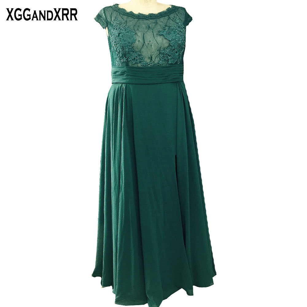 Plus Size Green Chiffon A Line Mother Of The Bride Dresses 2018 Scoop Appliques Hollow Back Floor Length Mother Of The Pant Suit