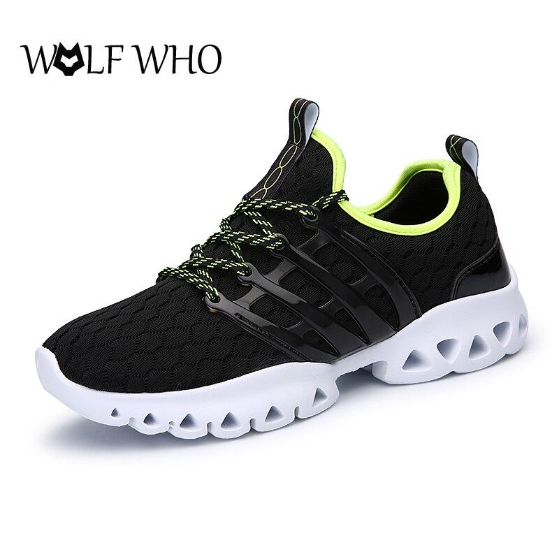 Wolf who hombres zapatos de malla transpirable de encaje hasta súper ligero aman