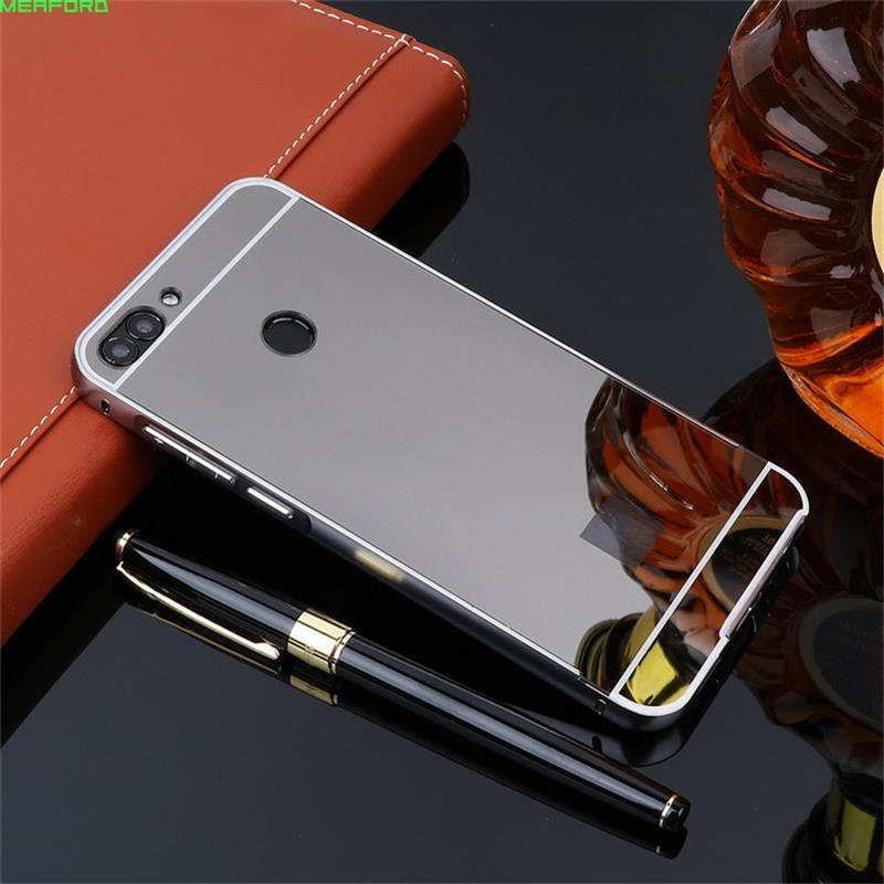 For Coque Huawei Y9 2018 case 5.93 Aluminum Bumper Frame Gold Plating PC Back Cover mirror case For Huawei Y9 2018 metal cases