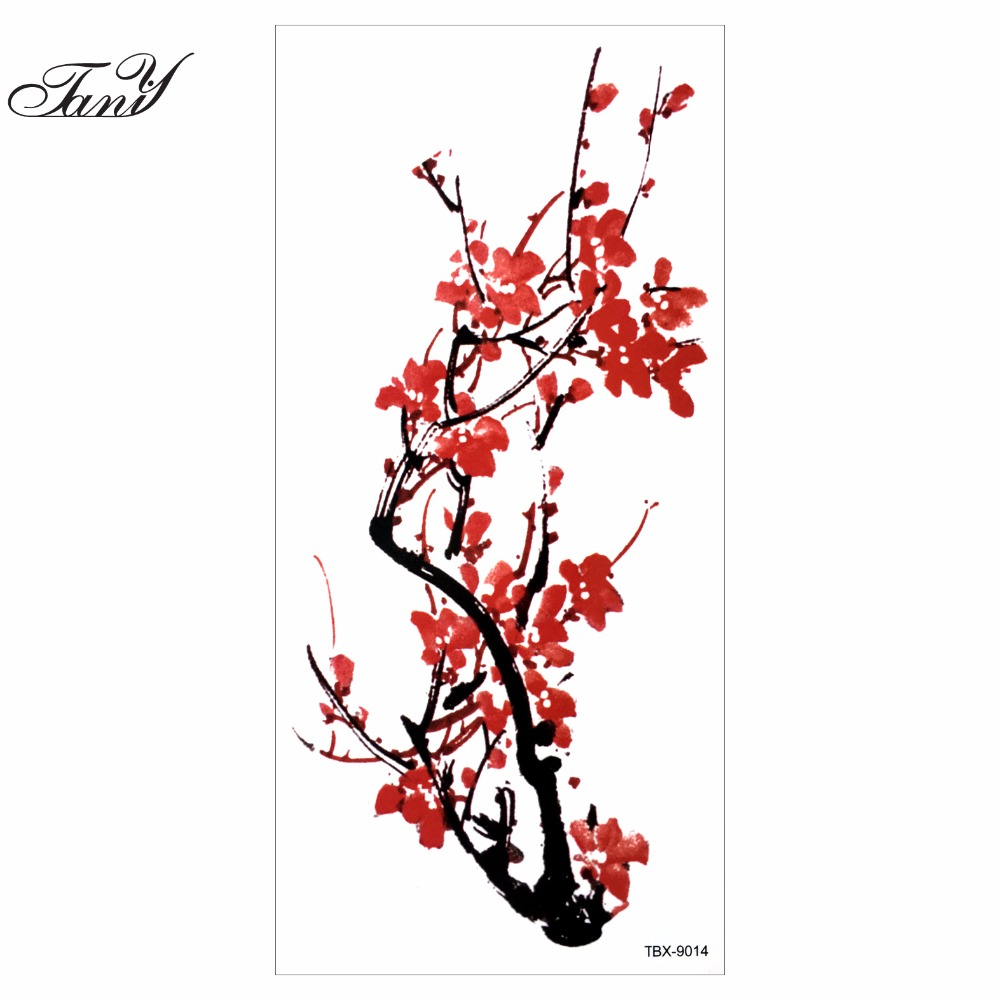 plum blossom waterproof sexy make up body art temporary tattoo stickers chinese plum blossom. Black Bedroom Furniture Sets. Home Design Ideas