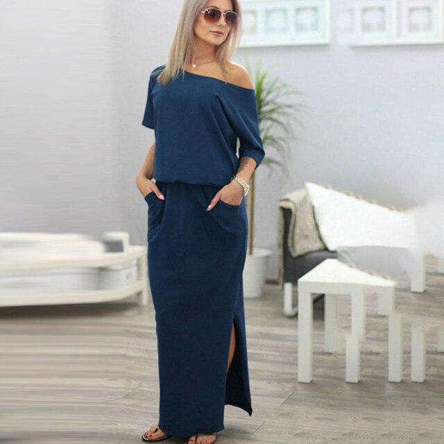 95972464ad327 2017 Sexy Summer Women Boho Maxi Dress Short Sleeve Side Slit Loose Evening  Party Long Beach Dress with Pocket Vestidos JH804156