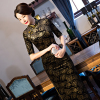 8 Colour Chinese Wedding Dress Female Long Cheongsam Gold Slim Chinese Traditional Dress Women Qipao For