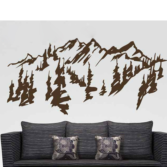 Traditional Chinese Painting Mountains &Trees Vinyl Wall Sticker,Removable Wall Decals For Living Room Decoration