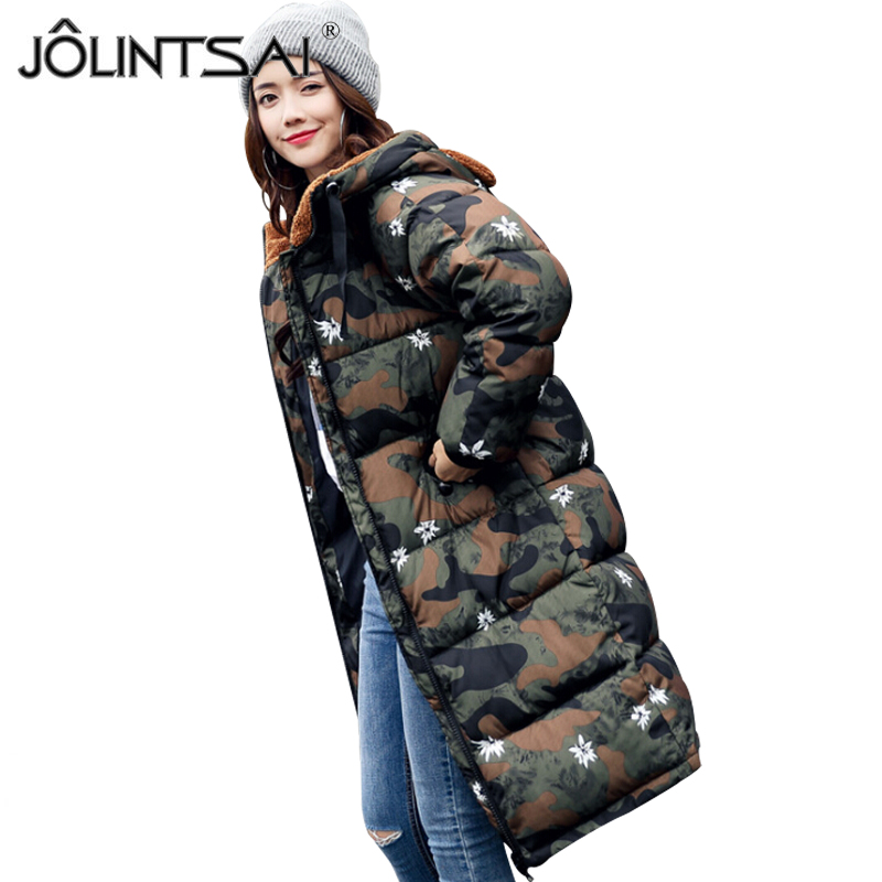 JOLINTSAI 2017 Winter Autumn Jacket Women Camouflage Padded Coat Winter Slim Long Coats Thick Christmas Snowflake Parkas jolintsai winter jacket women mid long hooded parkas mujer thick cotton padded coats casual slim winter coat women