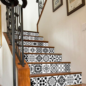 Image 1 - 6PCS White Black Tiles Stairs Stickers Home Decal Staircase Stair Floor Sticker DIY Wall Floor Decal Stair Decal Decoration