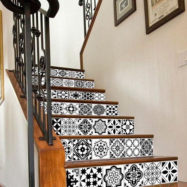 6PCS לבן שחור אריחי מדרגות מדבקות בית מדבקות מדרגות מדרגות רצפת מדבקת DIY קיר לקיר מדבקות מדרגות מדבקות קישוט