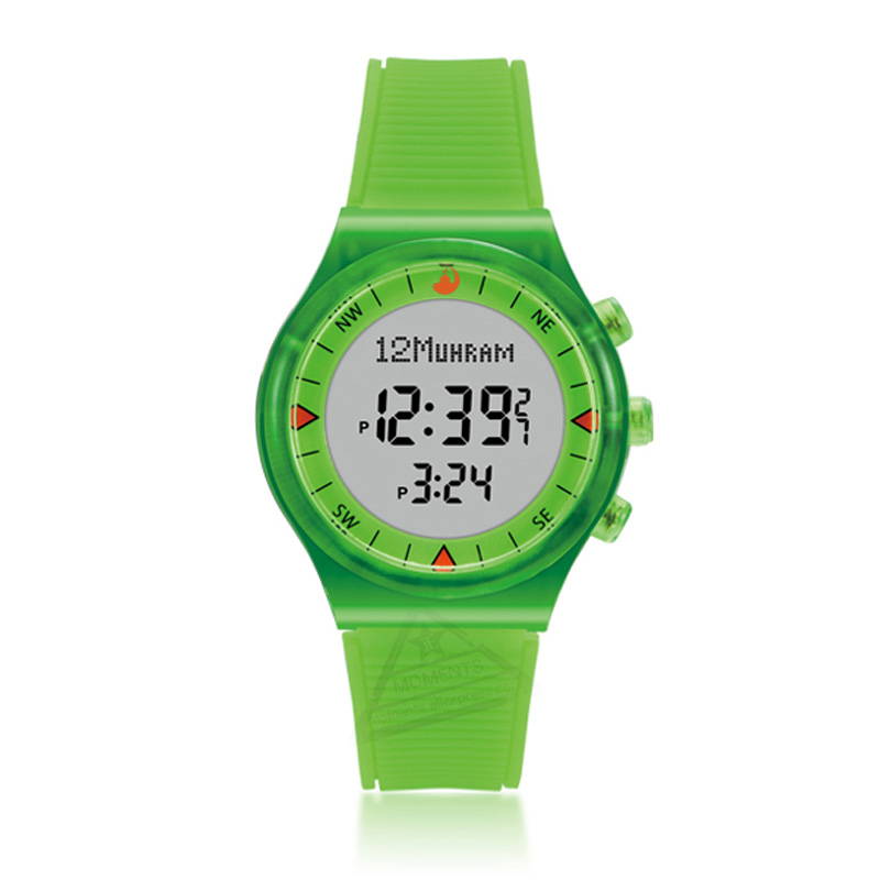 Muslim Kids Wristwatch with Alfajr Time Qibla Prayer Compass Neon Color