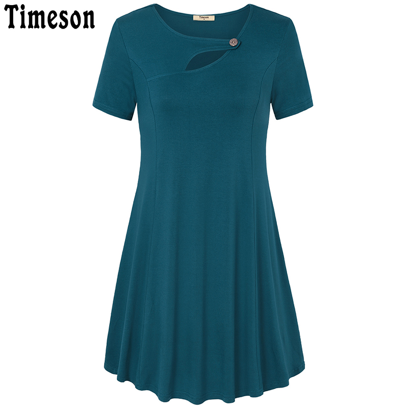 Timeson Short Sleeve Knitted T Shirt Dress Women Summer 2018 Casual Loose Hollow Out Robe Femme Button A Line Ladies Dresses casual shirt collar long sleeve hollow out loose fitting women s shirt