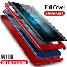 יוקרה 360 הגנת תואר מלא כיסוי מקרה טלפון עבור Huawei P10 P9 P8 לייט עמיד הלם כיסוי הכבוד 9 9 Case Lite 8 זכוכית