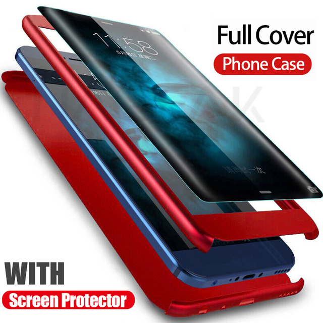 Luxury 360 Degree Protection Full Cover Phone Case For Huawei P10 P9 P8 Lite Shockproof Cover honor 9 9 Lite 8 Case Glass