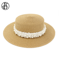 1135dcbc6d FS Fashion Flat Top Pearl Straw Fedora Church Hats For Women Summer Sun  Protection Cap Khaki