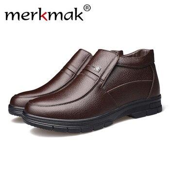 Merkmak Homens De Luxo Da Marca Botas de Inverno Quente Engrosse Fur Ankle Boots dos homens Formal Do Escritório de Negócios de Moda Masculina Sapatos de Couro