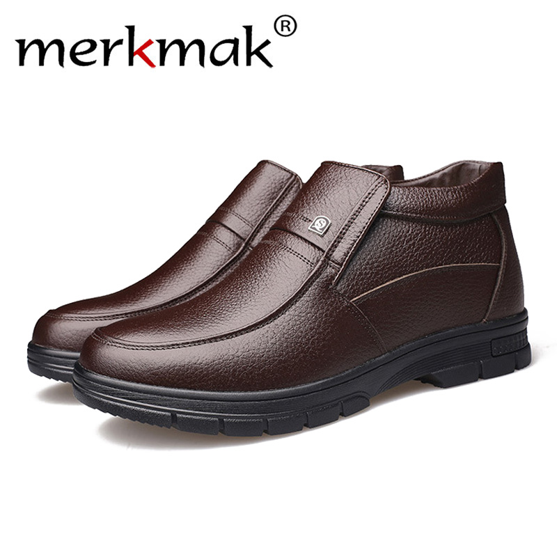 Merkmak Luxury Brand Men Winter Boots Warm Thicken Fur Mens Ankle Boots Fashion Male Business Office Formal Leather ShoesMerkmak Luxury Brand Men Winter Boots Warm Thicken Fur Mens Ankle Boots Fashion Male Business Office Formal Leather Shoes