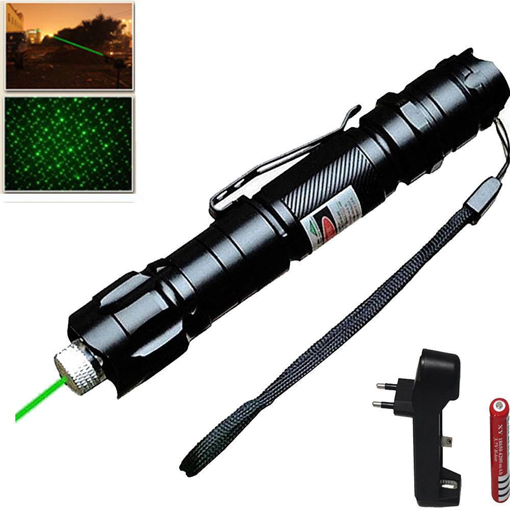 Powerful 1000m 5MW Green Laser Sight Light Military Adjustable Focus Lazer  Pointer With 18650 Battery +EU Charger