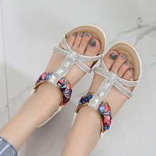 Women's Bohemian sandals Women's Ethnic Style Summer Sandals Rhinestone Leisure females Beach Slippers Shoes Summer comfort#G7(China)