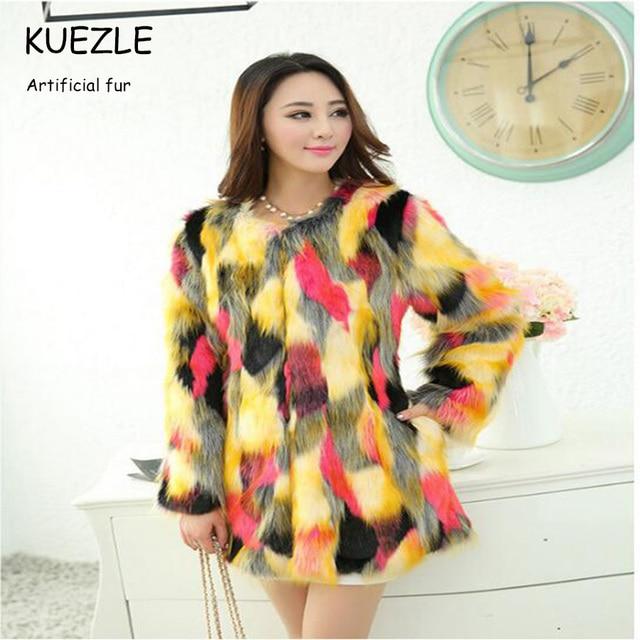 Tops colored fur coats fight color fox fur winter coat 2018 high-end atmosphere ladies luxury fur coat Korean Slim color fur 3XL