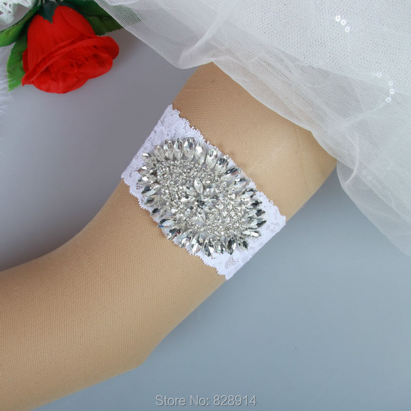 Crystal Wedding Garter: Luxury Crystal Applique Stretched Lace Wedding Garter Belt