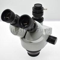 Binocular Continuous Zoom 7X 45X Trinocular Stereo Microscope Head Simul focal Industrial Microscope WF10X 20mm Eyepiece Lens
