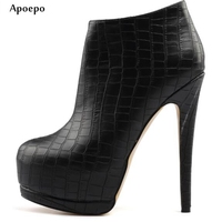 Apoepo Newest Black Leather High Heel Boots Pointed Toe Platform Ankle Boots Big Size Ultra High