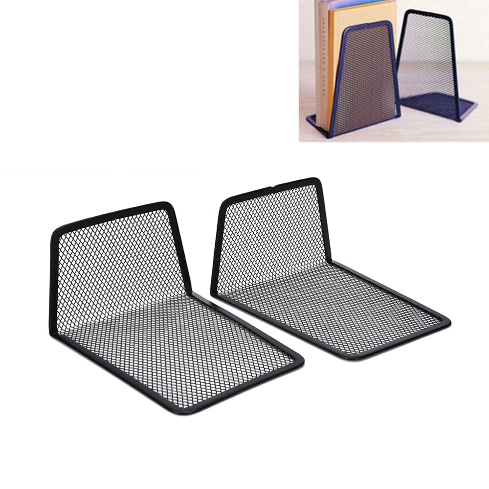 Desk Accessories & Organizer 1 Pair Metal Black Mesh Bookend Home Office Book Holder Shelf Accessory For Students Or Office