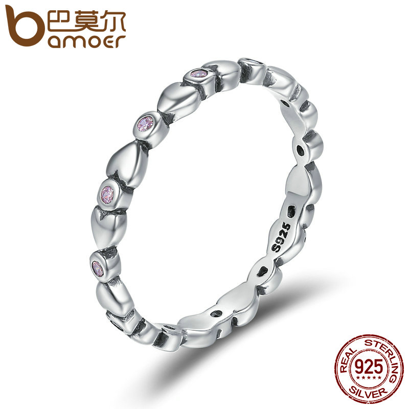 BAMOER 100% 925 Sterling Silver Heart Stackable Clear CZ Female Finger Rings for Women Wedding Engagement Jewelry Gift SCR227