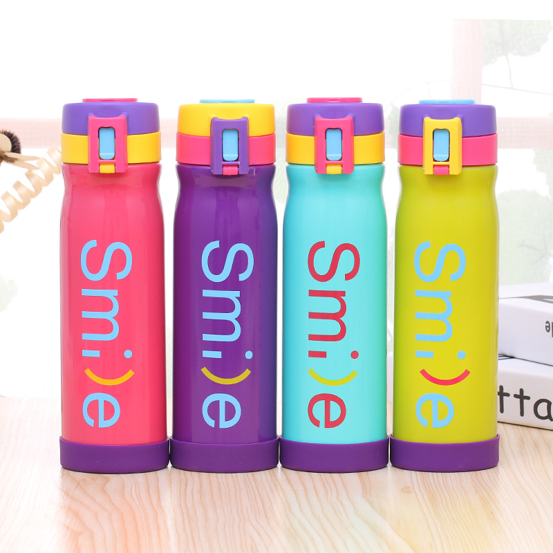500ml Creative Smile Double Wall Stainless Steel Thermos Mug Candy Color Vacuum Flask Travel Cup Thermal