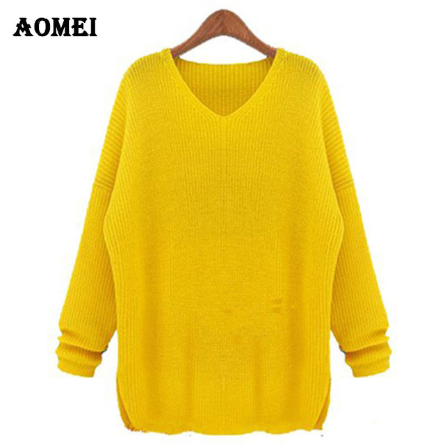 fdf439588bb Big size XXXXL Sweater for women 2018 Fashion Spring Crochet Plus size  knitted pullovers Female Yellow tricotado jumper Clothing