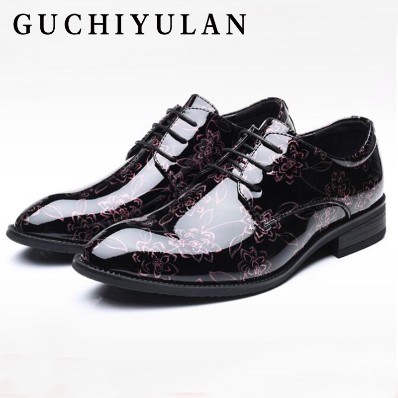 luxury Patent Leather business men's shoes Classic pointed Floral Lace-up Flat Dress Shoes Men Driving shoes Large size 38-48