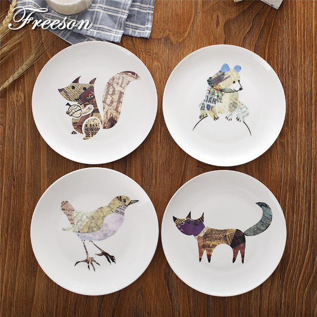 Creative Cartoon Animal Cake Dishes And Plates Porcelain Pastry Fruit Tray Anime Ceramic Tableware Children Dinnerware & Creative Cartoon Animal Cake Dishes And Plates Porcelain Pastry ...