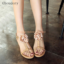Choudory Sweet Stereo Cloth Flower Decorated Women Sandals Fashion Med Heel Women Shoes Buckle T Strap PU Leather Women Sandals