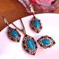 Azul turquesa Vintage conjuntos de jóias turco antigo banhado a ouro princesa anel de azul brincos europa tamanho grande