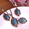 Blue Turquoise Jewelry Sets Vintage Turkish Antique Gold Plated Necklace Princess Hooks Blue Long Earrings Europe Big Size Ring