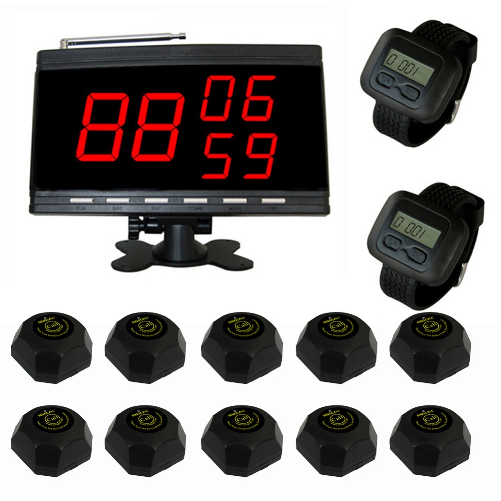 SINGCALL Table waiter call paging system for customer Service. waiter calling 10 call buttons and 2 watch receivers, 1 Display. wireless table bell calling system call service guest paging buzzer restaurant coffee office 1 display 1 watch 10 call button