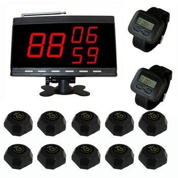 Singcall tabla camarero llamada Sistema de paginación para el servicio al cliente. llamada del camarero 10 botones de llamada y 2 reloj receptores, 1 pantalla.