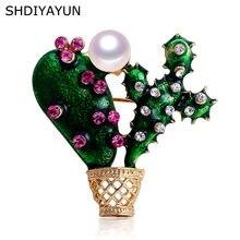 Shdiyayun 2019 Прямая продажа с фабрики эмалевые брошь кактус