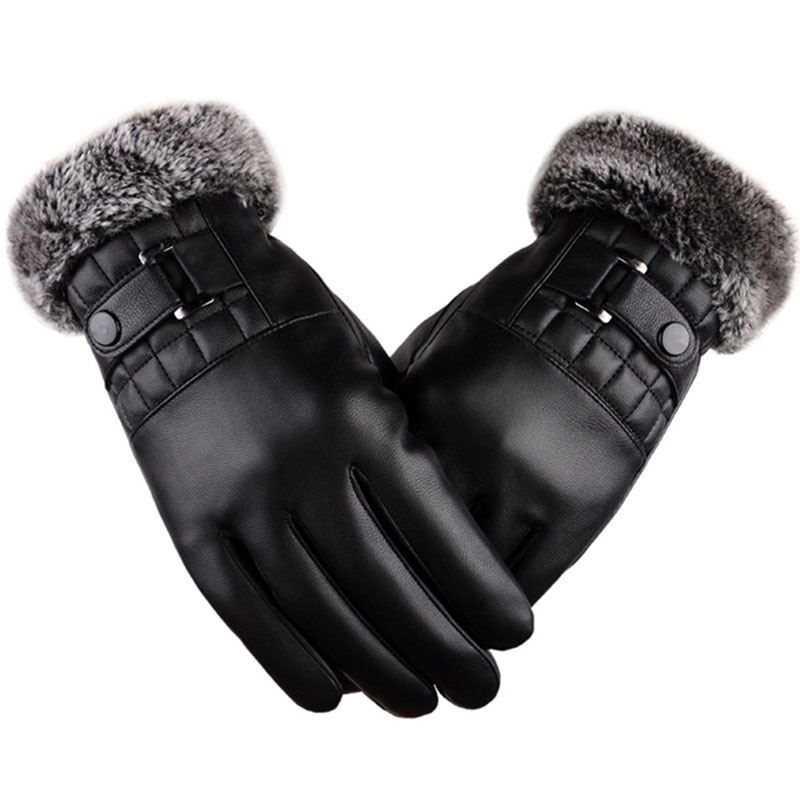 Men Winter Gloves Vintage PU Leather Touchscreen Mittens Thickened Warm Plush Cuff Thermal Fleece Lining Outdoors Ski Driving