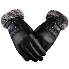 Здесь можно купить  Men Winter Gloves Vintage PU Leather Touchscreen Mittens Thickened Warm Plush Cuff Thermal Fleece Lining Outdoors Ski Driving  Apparel Accessories