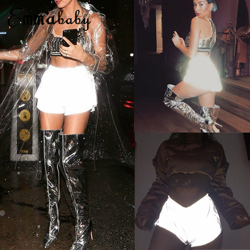 Thefound Hot Womens Luminous Reflective Booty Shorts Club Party Dance Costume Wear