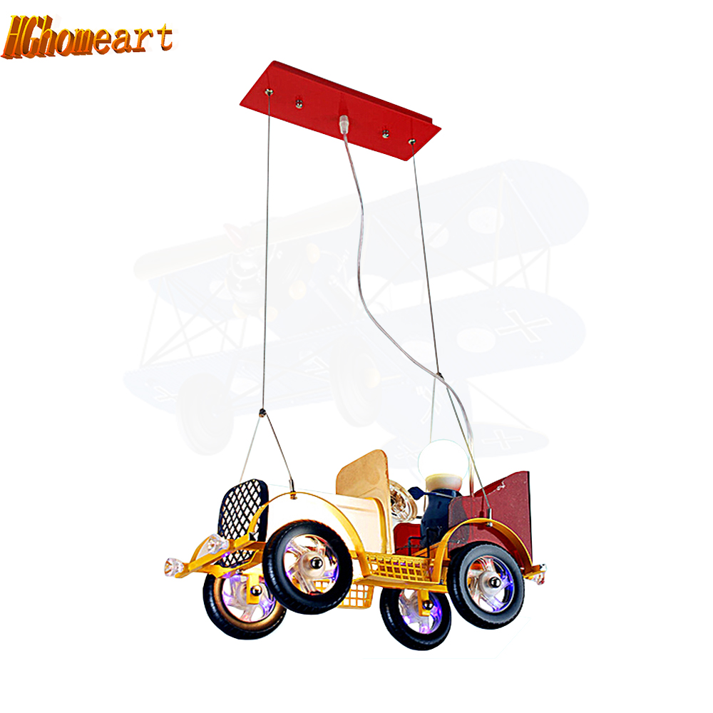 Living Room Restaurant Study Bedroom LED Personalized Cartoon Retro Vintage Car Children Chandeliers Hanging Hanging Glass Steel grommet top cartoon blackout car curtains for family children bedroom living room
