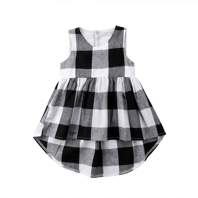 Adorable Kids Baby Girl Sundress Kid Black White Checked Sleeveless Dress Summer Baby Girls Clothes