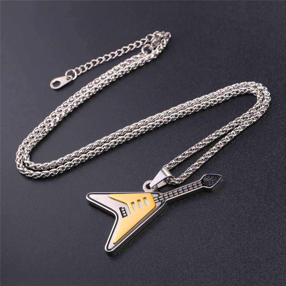 Электрогитара подвески и ожерелье s двухцветная эмалированная Нержавеющая сталь ожерелье цепь для мужчин панк-рок музыка ожерелье GP2533