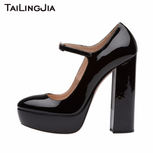 New Chunky Heel Woman Black Platform Pumps Round To