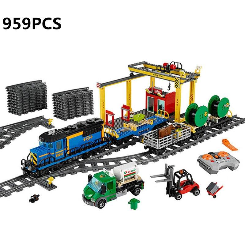 Лепин 02008 город серии грузовой поезд набор строительных блоков Кирпичи 60052 RC Развивающие игрушки для детей новый подарок Gundam Tamiya